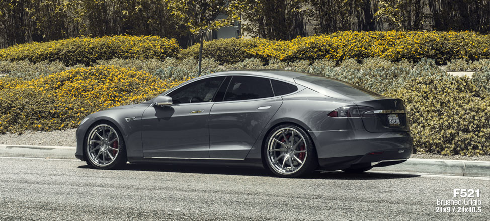 Tesla Model S custom forged directional ten spoke wheels