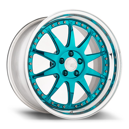 "18"" Mirror Turquoise with Chrome Lip"