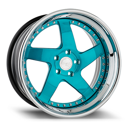 "19"" Brushed Turquoise with Chrome Lip"