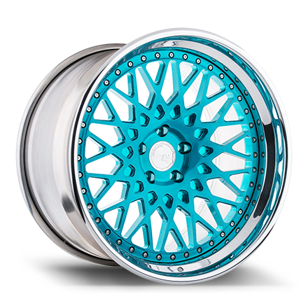 "20"" Brushed Turquoise with Chrome Lip"