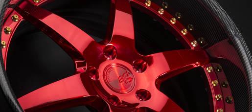 five spoke forged wheel rim carbon fiber overlay brushed candy red avant garde ag te37 volk