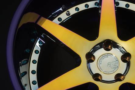 five spoke forged wheel rim full mirror brushed chrome overlay brushed neochrome purple avant garde ag te37 volk