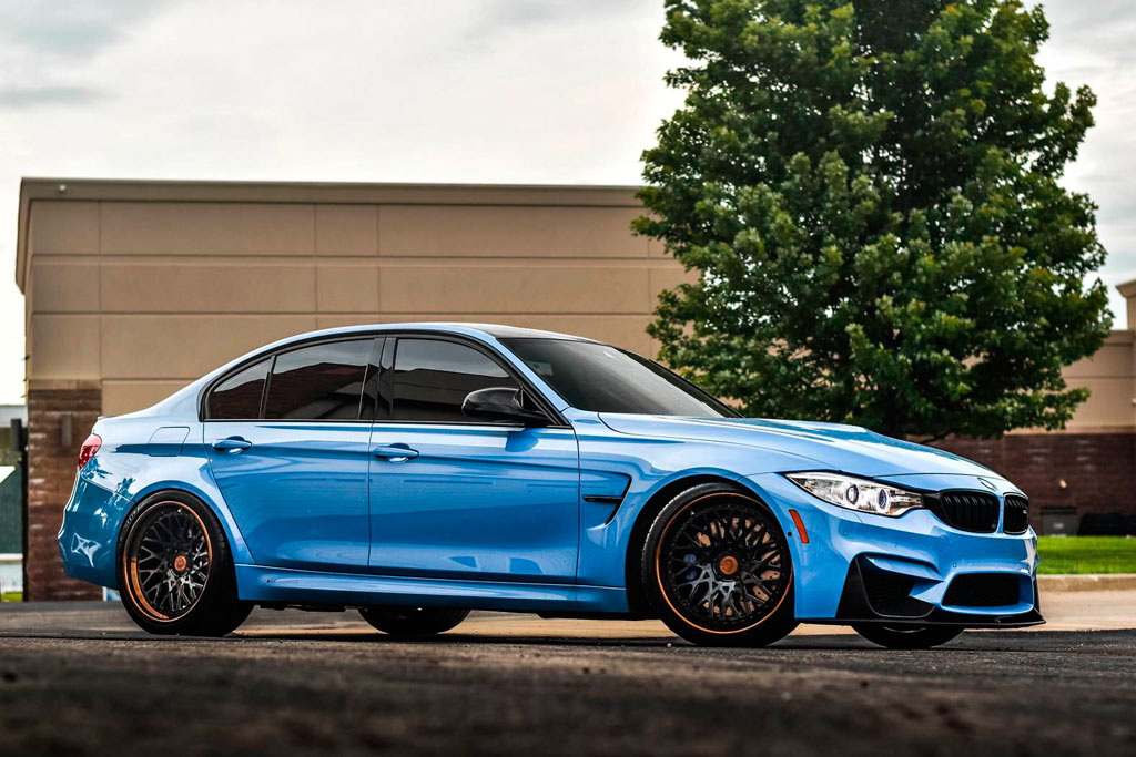 blue bmw f80 m3 f542 spec1 staggered mesh concave forged wheels bronze step lip 20 inch rims agwheels avant garde side front