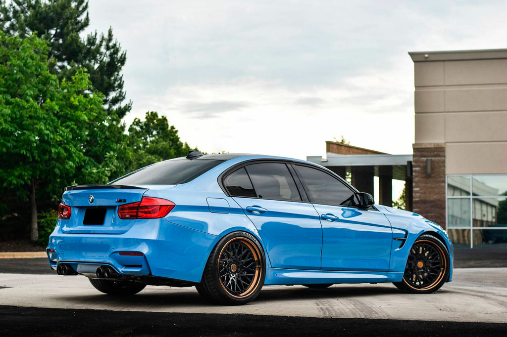 blue bmw f80 m3 f542 spec1 staggered mesh concave forged wheels bronze step lip 20 inch rims agwheels avant garde side rear