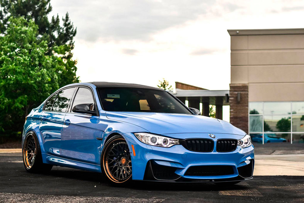 blue bmw f80 m3 f542 spec1 staggered mesh concave forged wheels bronze step lip 20 inch rims agwheels avant garde front side low
