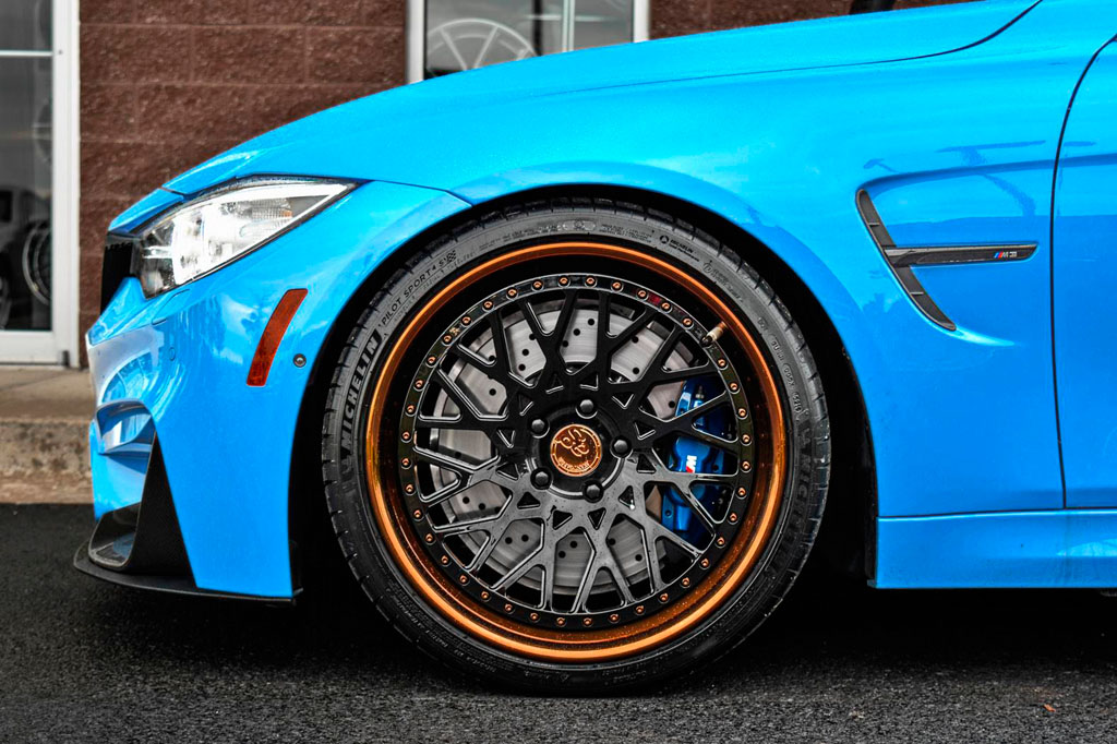 blue bmw f80 m3 f542 spec1 staggered mesh concave forged wheels bronze step lip 20 inch rims agwheels avant garde front wheel