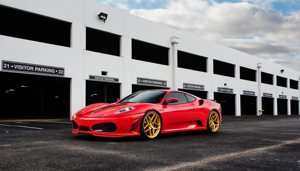 ferrari f430 430 rarri ag agwheels avant garde wheels avantgardewheels avantgarde m650 rim rims tire tires texas erik marroquin erikmarroquin tunergoods tuner goods supercar stance monoblock flow form cast lightweight track red brushed machined gold bullion candy gold flowform rotary forged cast artseries art advanced rim techonology