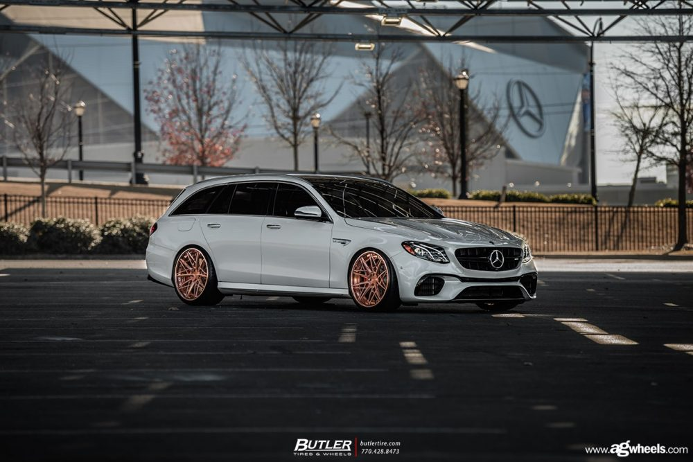 white mercedes benz e63s amg wagon avant garde wheels agwheels f538 custom concave forged rims brushed polished copper butler atlanta lowered stanced luxury mesh
